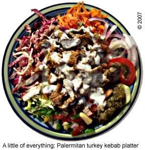 Palermitan kebab platter  with yogurt sauce.
